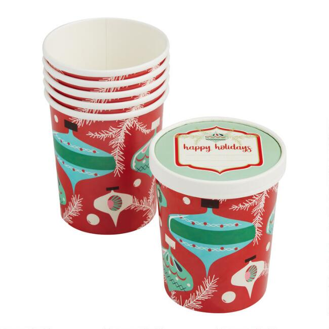 Large Retro Holiday Paper Take Away Cups with Lids 6 Pack