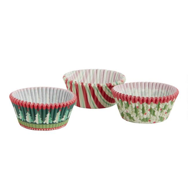 Retro Holiday Cupcake Liners 75 Count