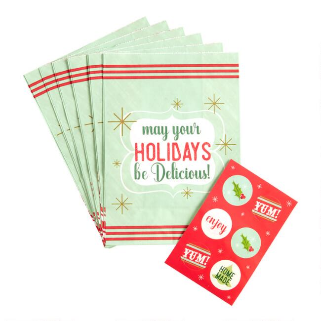 May Your Holidays Be Delicious Treat Bags 6 Pack