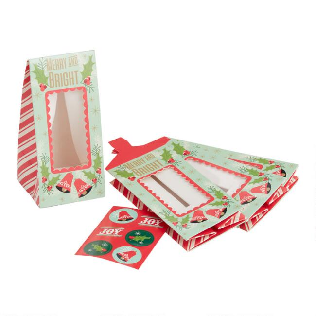 Merry and Bright Holiday Treat Bags with Windows 4 Pack