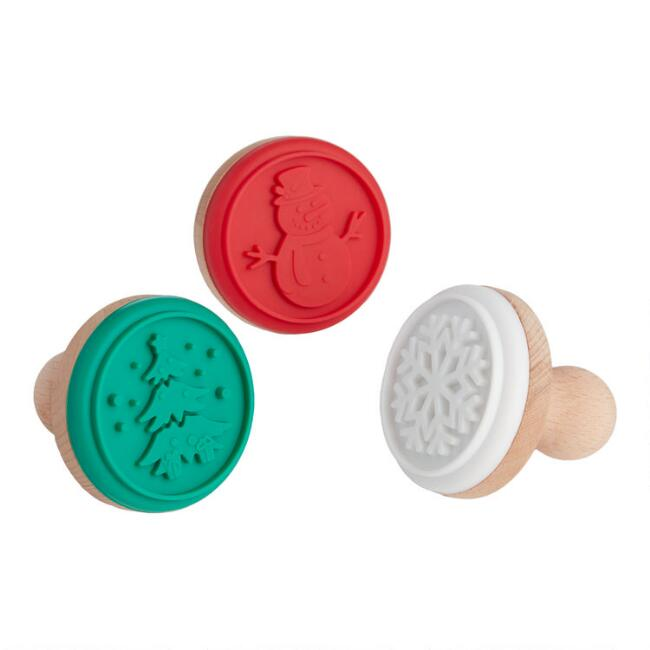 Holiday Silicone and Wood Cookie Stamp Set 3 Pack