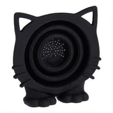Black Meow Cat Collapsible Silicone Tea Strainer