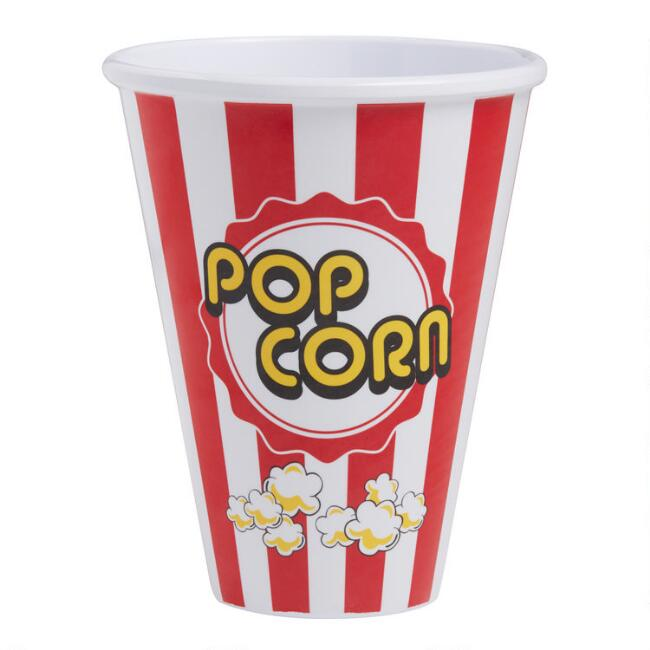Small Classic Red Stripe Melamine Popcorn Bowl Set of 6
