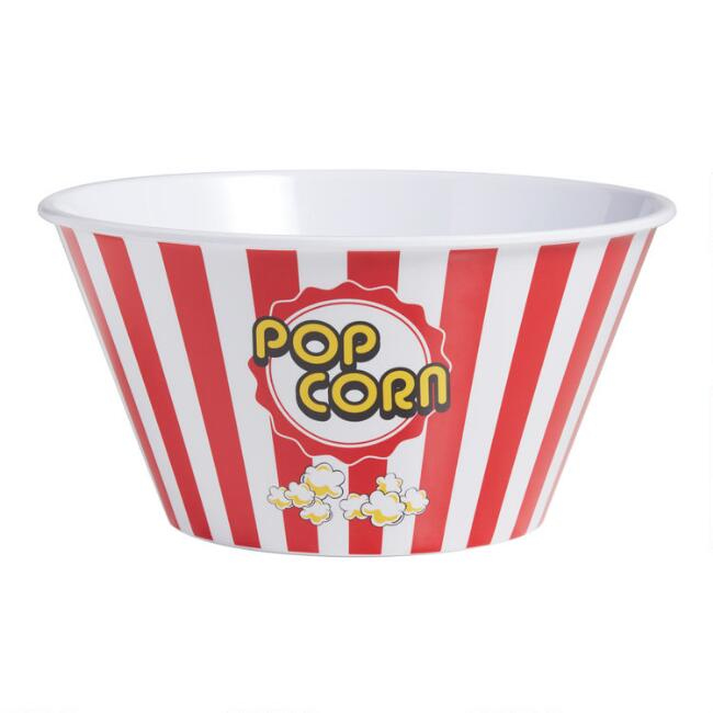 Large Classic Red Stripe Melamine Popcorn Bowl