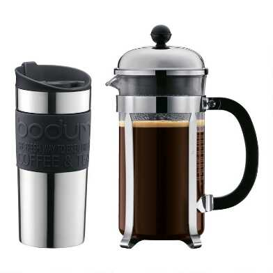 Bodum Chambord 8 Cup French Press and Travel Mug 2 Piece Set