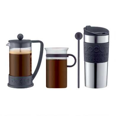 Bodum Brazil 3 Cup French Press and Travel Mug 4 Piece Set