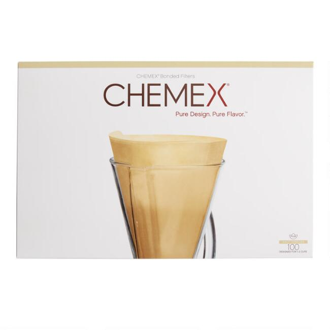 Chemex Half Moon Natural Pour Over Coffee Filters 100 Count
