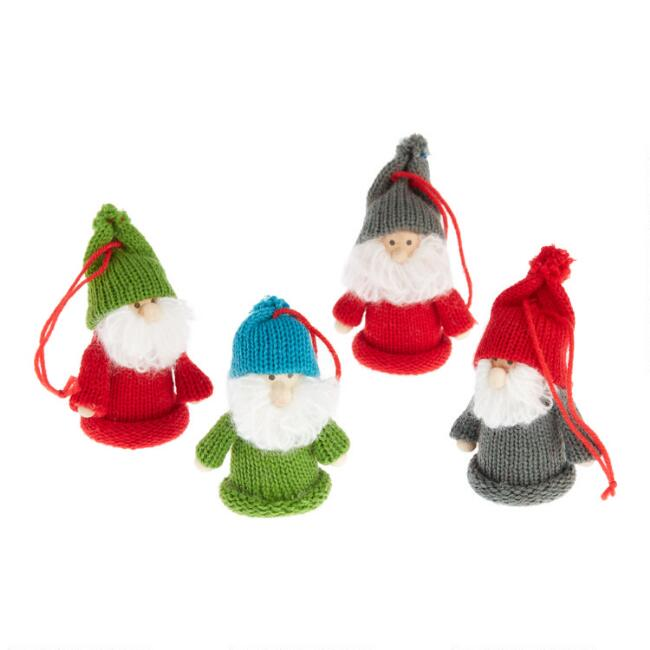 Knit Gnome Ornaments Set Of 4