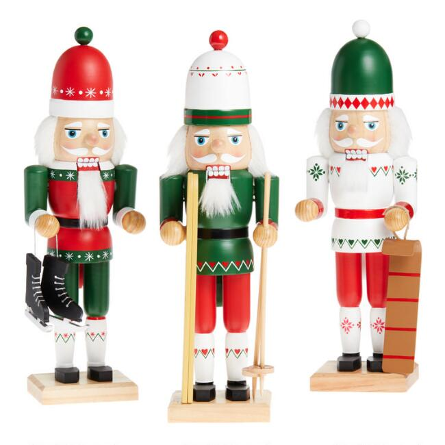 Red And Green Scandinavian Nutcrackers Set of 3