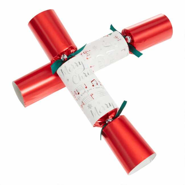 Williams Sonoma Christmas Crackers.Medium Red Merry Musical Crackers 8 Count