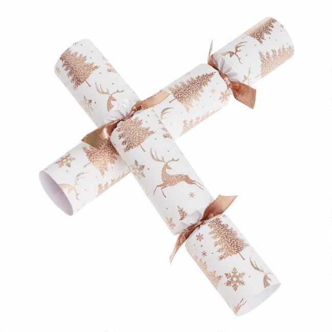Williams Sonoma Christmas Crackers.Medium White Stag And Tree Crackers 8 Count