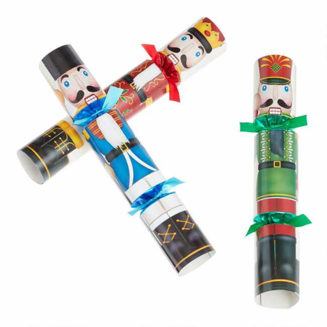 Williams Sonoma Christmas Crackers.Large Multicolor Nutcracker Crackers 6 Count