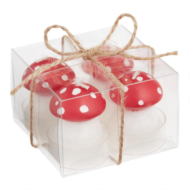 Holiday Toadstool Candles 4 Pack