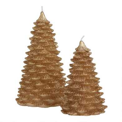 Gold Glittered Christmas Tree Candle