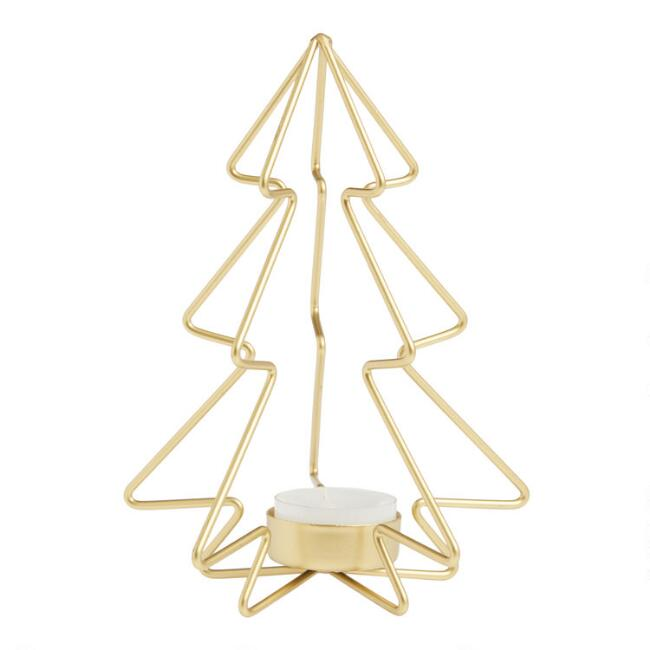 Gold Christmas Tree Tealight Candleholder