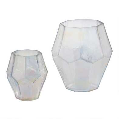 Clear Holographic Faceted Tealight Candleholder
