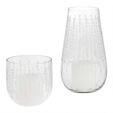 Clear Glass Etched Dot Hurricane Candleholder