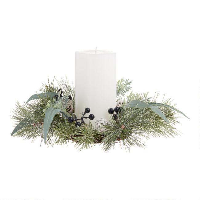 Faux Pine And Dark Berry Candle Ring