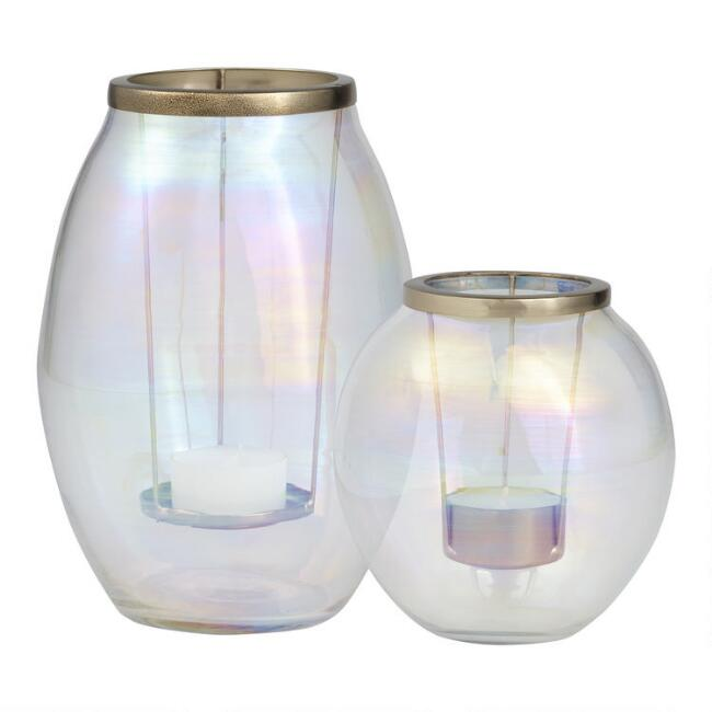 Oval Clear Glass Holographic Tealight Candleholder