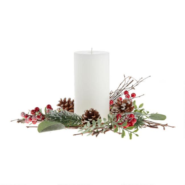 Faux Eucalyptus And Red Berry Candle Ring
