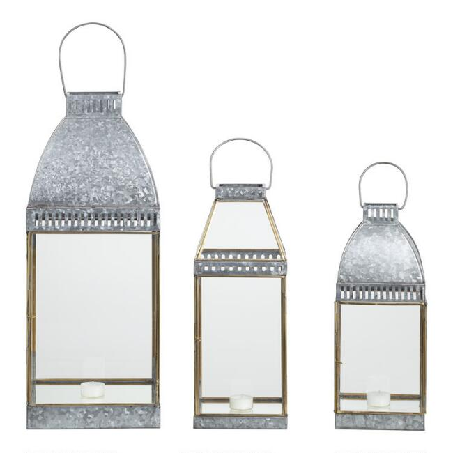 Gold And Galvanized Metal Mirror Lantern