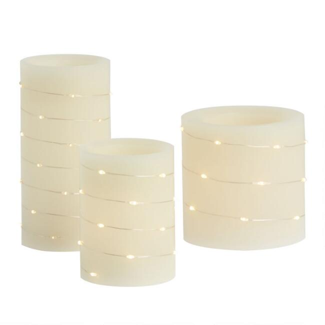 White Micro String Light Flameless LED Pillar Candle