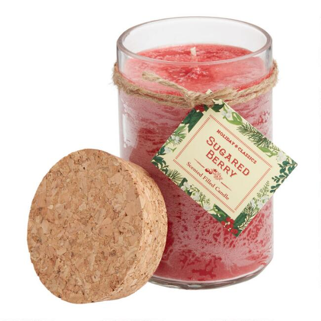 Red Sugared Berry Cork Lid Filled Jar Candle