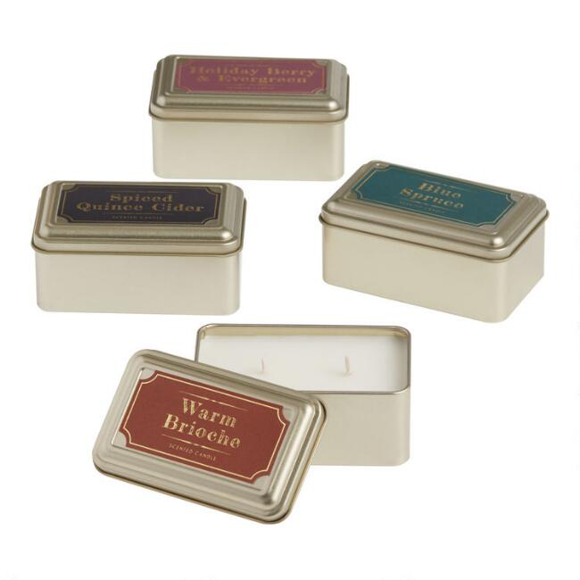 Holiday Gold Tin Travel Candle Collection