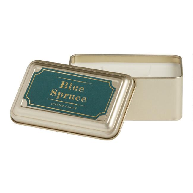 Blue Spruce Gold Tin Travel Candle
