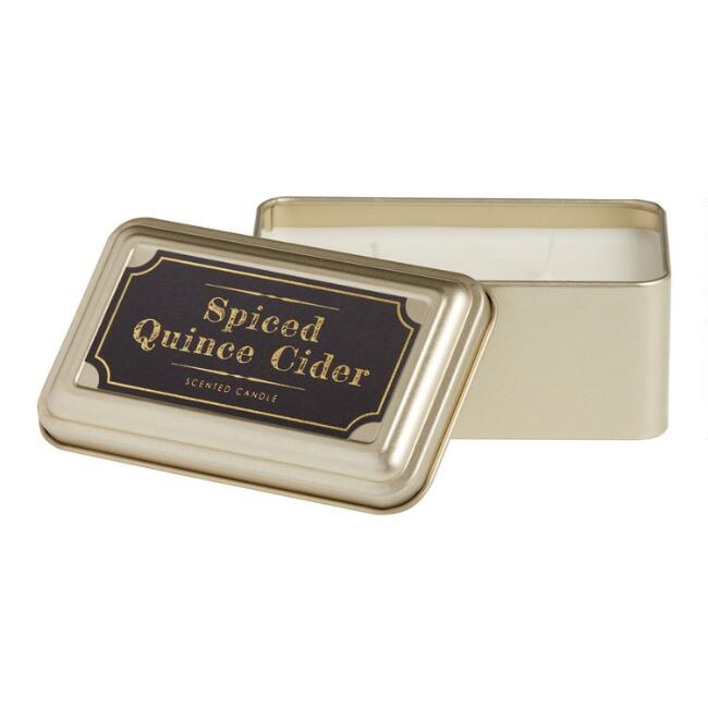 Spiced Quince Cider Gold Tin Travel Candle