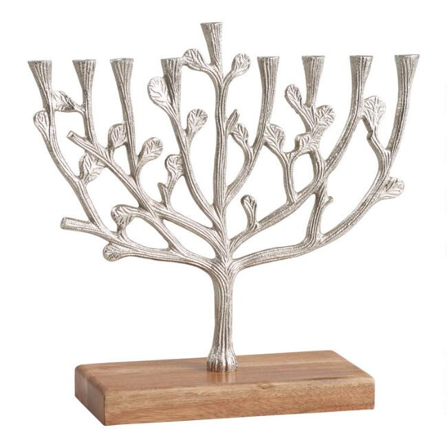 Antiqued Pewter and Acacia Wood Tree Of Life Menorah