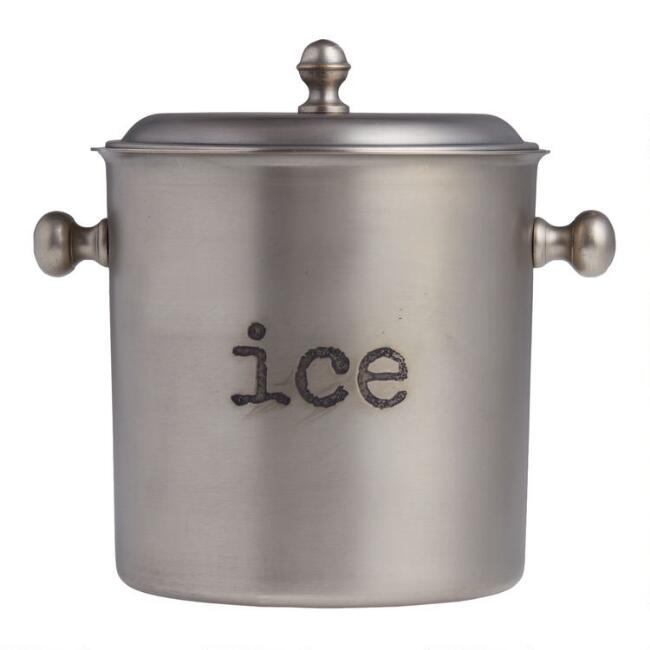Antiqued Silver Ice Bucket with Lid