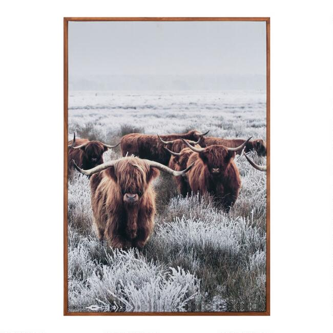 Gathering of Longhorns Framed Canvas Wall Art