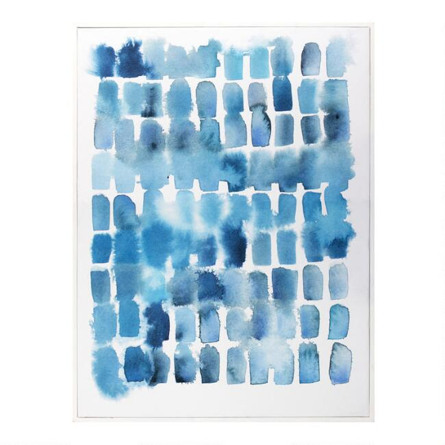 Blue Wash Blocks by Kelly Witmer Framed Canvas Wall Art