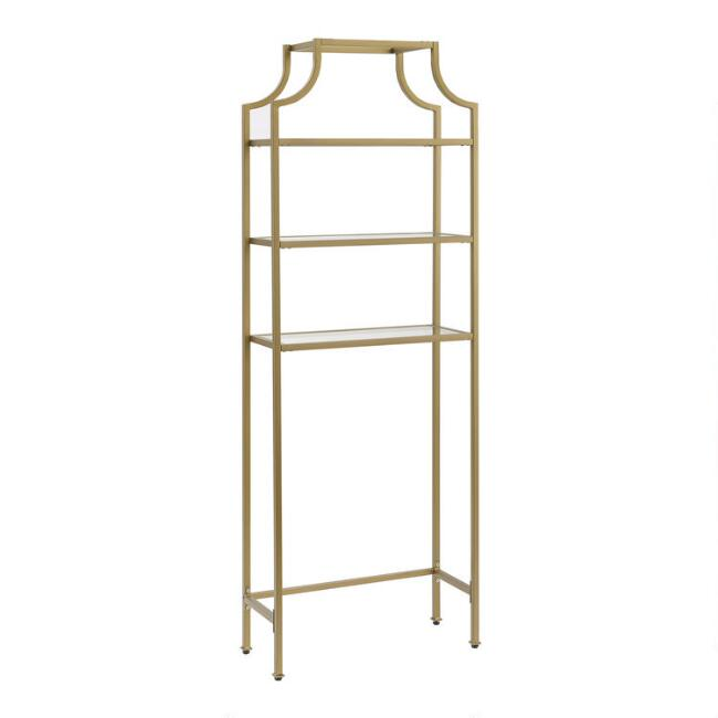Gold Metal and Glass Milayan Bathroom Space Saver Shelf