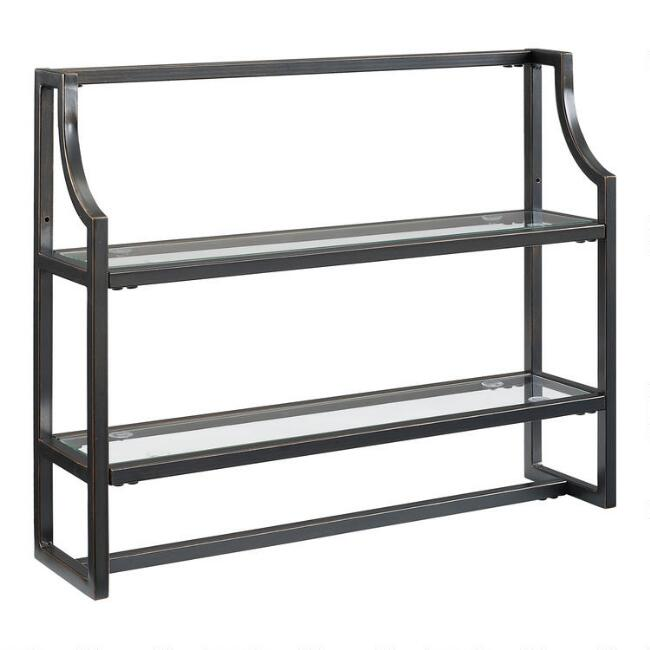Bronze Metal and Glass Milayan Bathroom Wall Shelf