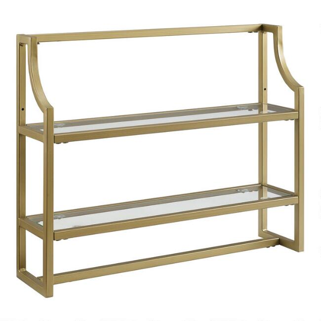 Gold Metal and Glass Milayan Bathroom Wall Shelf