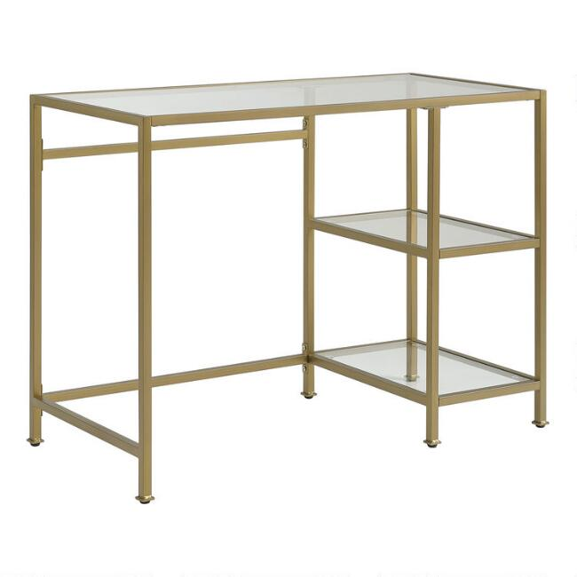 Gold Metal and Glass Milayan Desk with Shelves