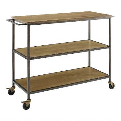 Washed Oak Rolling Kitchen Cart