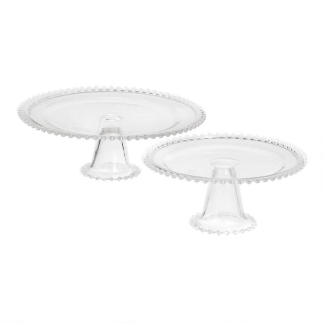 Clear Beaded Glass Cake Stand