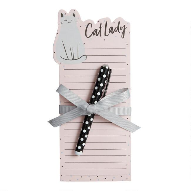 Cat Lady Die Cut Notepad and Pen Set