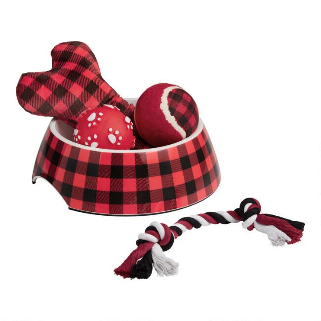 Holiday Buffalo Plaid Dog Toy 5 Piece Gift Set