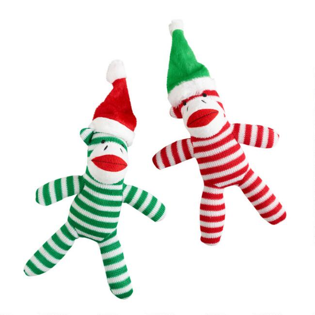 Red and Green Sock Monkey Plush Squeaker Dog Toys Set of 2