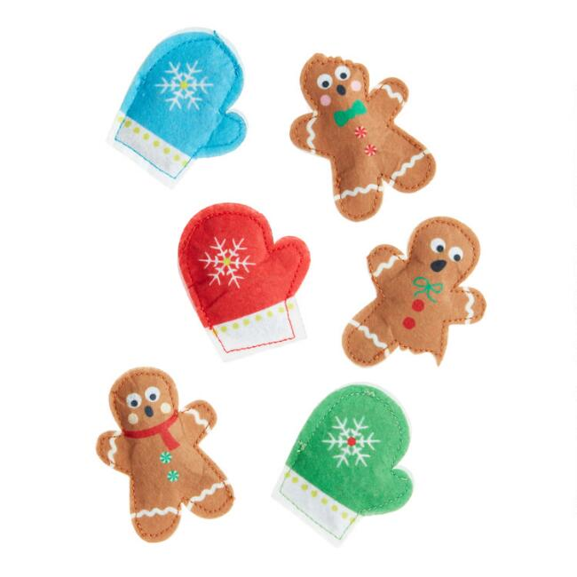 3 Pack Gingerbread Person and Mitten Catnip Toys Set of 2