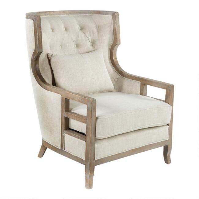 Beige Tufted Linen and Wood Willa Upholstered Armchair