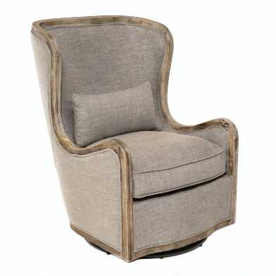 Gray Linen and Wood Valeri Upholstered Swivel Armchair