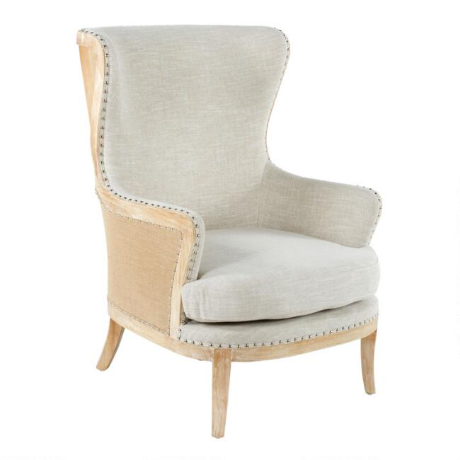 Beige Linen and Wood Sydney Upholstered Armchair
