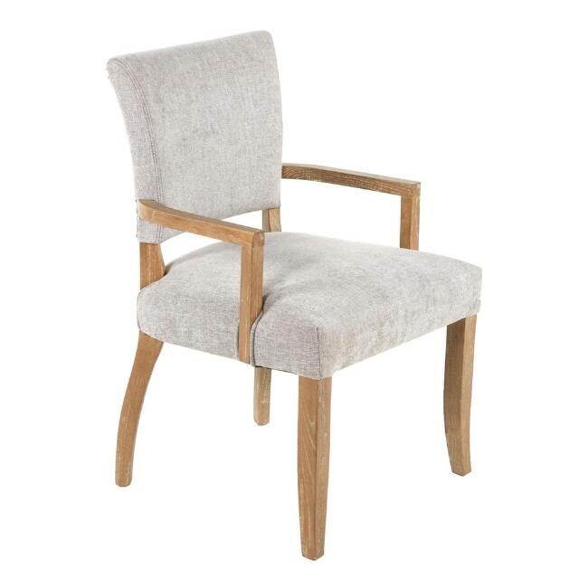 Gray Wood Monroe Upholstered Dining Armchair