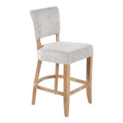 Gray Wood Monroe Upholstered Counter Stool