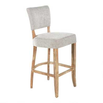 Gray Wood Monroe Upholstered Barstool